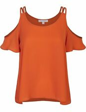 Women's Short Ruffle Sleeve Round Neck Cold Shoulder Chiffon Blouse Top SML~PLUS