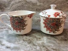 Grace's Teaware Cream And Sugar Dish Set. Red Flowers. Gorgeous. New.