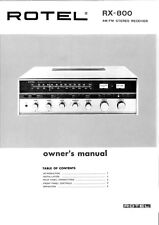Rotel RX-800 Receiver Owners Manual