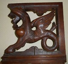 French Oak Wood Carved Corbels Griffin from the 19th C