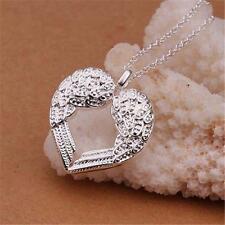 Femmes Argent 925 aile d'ange coeur d'amour collier pendentif Argent Cadeau EH