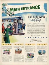 1948 Greyhound Lines Bus Great Artwork with schedule nice frameable art PRINT AD