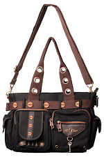 BANNED NEW DESIGNER SHOULDER STEAMPUNK LOCK & KEY BAG HANDCRAFT HANDBAG CANVAS