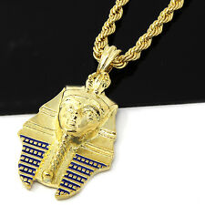 "Mens Gold Plain Egyptian Pharoah Pendant 24"" Rope Chain Hip Hop Necklace D495"