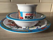 Kellogg's Cereal Plate Cup Bowl 1996 Rice Krispies Set