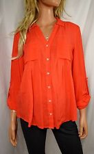 MAEVE ANTHROPOLOGIE Islet Orange Button Down Top Blouse  Size X Small