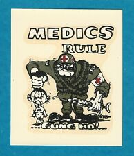"VINTAGE ORIGINAL 1967 ED ROTH US ARMY ""MEDICS RULE"" VIET NAM WAR WATER DECAL ART"