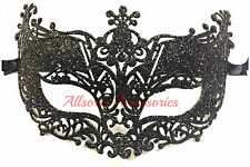 Veneziano Nero Filigrana Masquerade Maschera Ballo Party Costume Natale