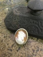 VICTORIAN ANTIQUE SHELL CAMEO HAND CARVED PIN AUTHENTIC PERIOD SHELL JEWELRY