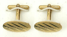9ct Yellow Gold Engraved Oval Cufflinks Made in Jewellery Quarter B'ham RRP £772