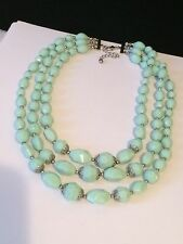 Sea Foam Blue 3 Tier Faceted Acrylic Bead Statement Necklace #X18