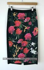 LAURA ASHLEY [ Size 6 ] Black Floral High Waist Pencil Skirt
