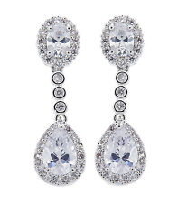 CLIP ON EARRINGS - luxury drop earring with Cubic Zirconia stones - Misty