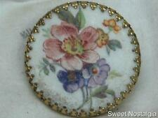 LOVELY VINTAGE 60/70'S MICRO GLASS BEAD FROST FINISH FLOWER POSY SCARF RING CLIP