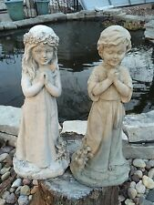 Praying Boy Or Girl CEMENT STATUE CONCRETE Lawn Ornament Decoration Garden