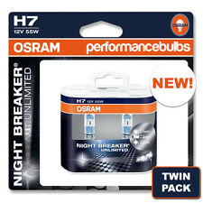 H7 OSRAM NIGHT BREAKER PLUS UNLIMITED CAR BULBS BRAND NEW TWIN PACK! 2 x H7