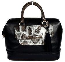 New Guess Spotlight Women's Black Box Satchel Tote Shoulder Bag Handbag