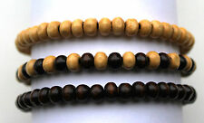 Set of 3 Mens Wooden Bead Tribal / Surfer Elastic Bracelet - Brown Mix - NEW