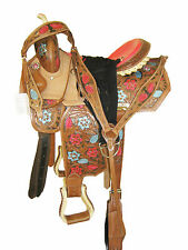 """THSL"" WESTERN BARREL SADDLE PKG CARVED BRWN/NAT/PAINT RAWHIDE LACING 14"" (1099)"