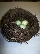 "5"" Decorative Twig Bird Nest with Three Speckled Eggs Nestled in Moss"