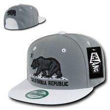 Charcoal Gray & White California Republic Cali Bear Flat Bill Snapback Hat Cap