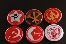 Asia Communist Party Button Badge Lot China Philippines India PLO North Korea 6