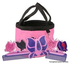 Tough-1 Pink Butterfly 8 Piece Grooming Kit with Tote Bag Horse Tack Equine