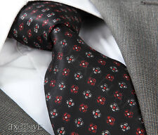 NEW ITALIAN DESIGNER BLACK & RED FLORAL SILK TIE
