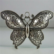 12479 2PCS Alloy Insects Butterfly Pendant Vintage Silver Tone