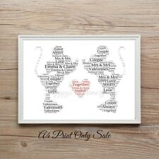 Personalised Minnie & Minnie Mouse Valentine's Day Word Print Disney Same Sex