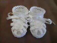 Handmade Hand Crocheted Baby Girl Booties/Sandals White 0-3 months