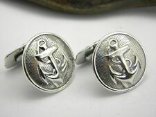 Nautical silver Cufflinks, sterling silver anchor cuff link in antique style