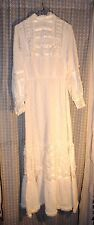 Antique Victorian Edwardian White Womens Gathered Cotton Lace Nightgown Dress