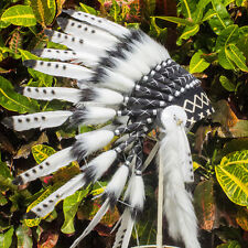 Kids Size Indian Headdress - Native American Chief -Real Feathers- Black & White