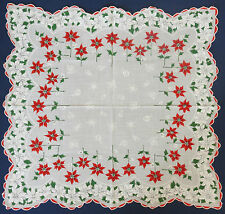 Vintage Handkerchief~ Christmas Red & White Poinsettias Shadow Bells, Balls   MH