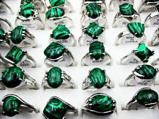 Fashion Wholesale Lots 5pcs Malachite Gemstone&Silver Plated Women's Rings J76