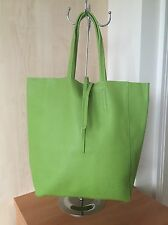 Italian Soft Leather Lime Green  Tote Bag. With Attached Purse