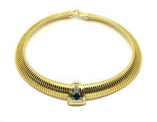 Vintage GIVENCHY Art Deco Style 18k Gold Plated Rhinestone Omega Collar Necklace