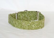 "1.5"" Martingale Dog Collar Olive Green with Light Swirls"