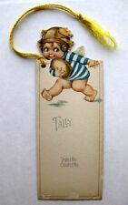 Vintage 1920s Bridge Tally Baby Angel Playing Football w/ Old Style Helmet
