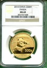 CHINA 2014  PANDA GOLD  ONE OZ   NGC MS 69   500 YUAN   .999 AU