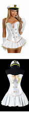Sexy Navy Officer Costume  Halloween White Corset + Mini Skirt + Hat Size S