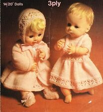 "Dolls clothes knitting pattern.14""- 20"" doll. .Laminated copy"