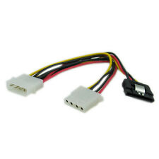 "8"" molex 4 pin male to 15 pin SATA power and molex 4 pin female cable adapter"
