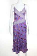 Emanuel Ungaro Purple Pink Blue Floral Print Casual Dress Size 36 NEW $1730