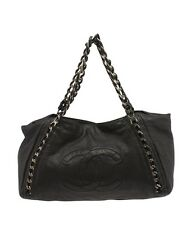 Chanel Black Leather Large & Silver-tone Chain Tote