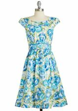 Emily & Fin Day After Day Dress in Blue Painted Flowers Plus Size 3X