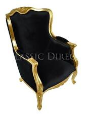 Wingback Chair French Provincial Gold Leaf Black Velvet SRP1400