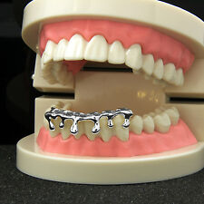 New Custom Fit Silver Plated Hip Hop Teeth Drip Grillz Caps Lower Bottom Grill