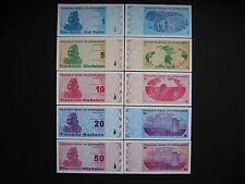 ZIMBABWE  1 + 5 + 10 + 20 + 50 Dollars 2009  (P92 - P96)  UNC